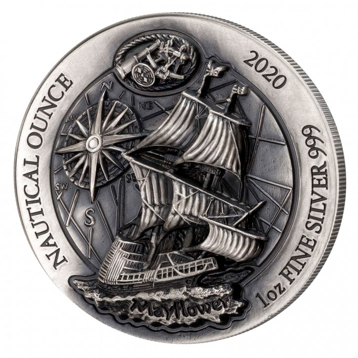 Ruanda 50 Francs 1 oz Silber Nautical Ounce Mayflower 2020 High Relief/Antik Finish