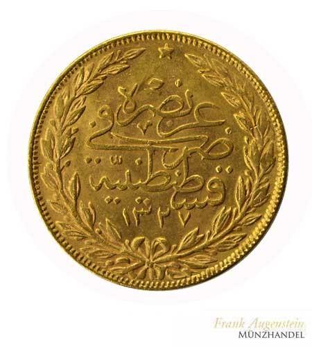 Türkei 100 Piaster Gold Mohammed V Gold
