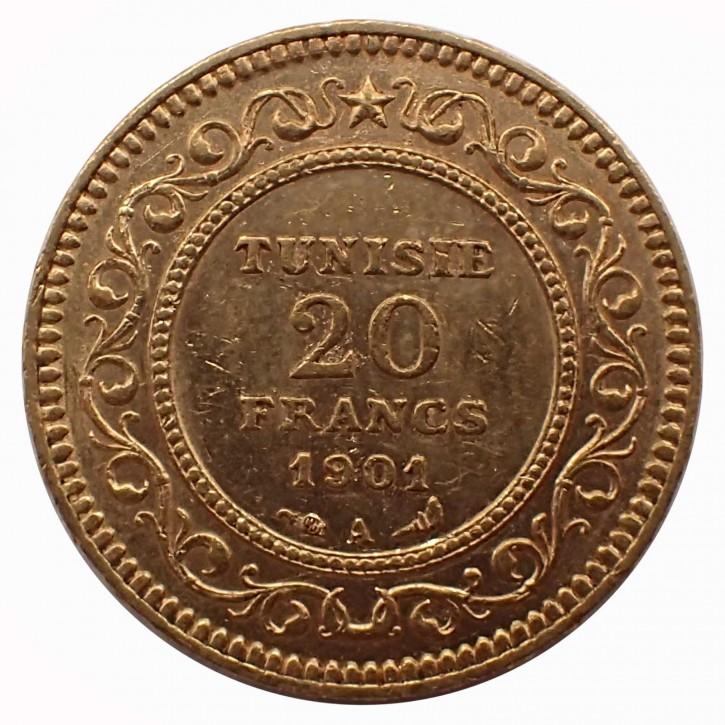 Tunesien französisches Protektorat 20 Francs Gold 1901