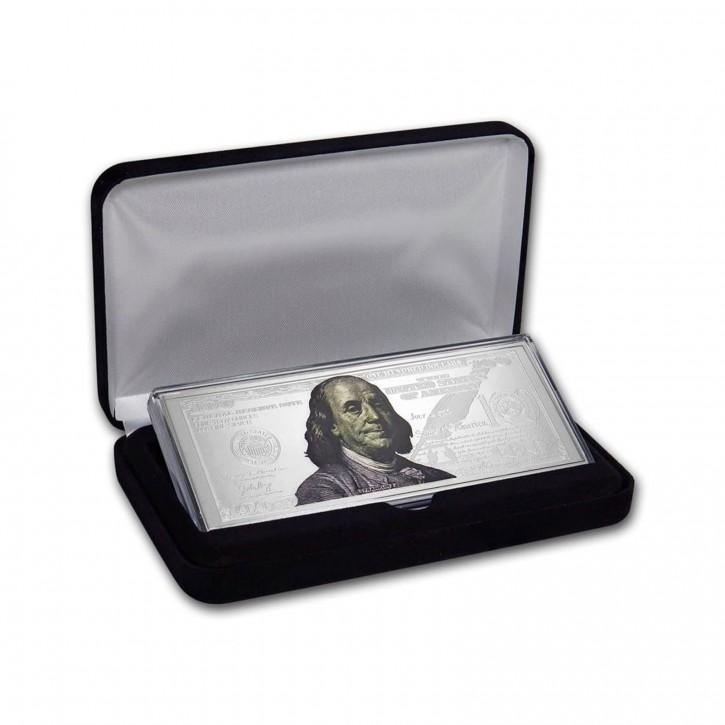 Silberbarren $ 100 Franklin 4 oz .999 Silber farbig incl. Kapsel/Etui