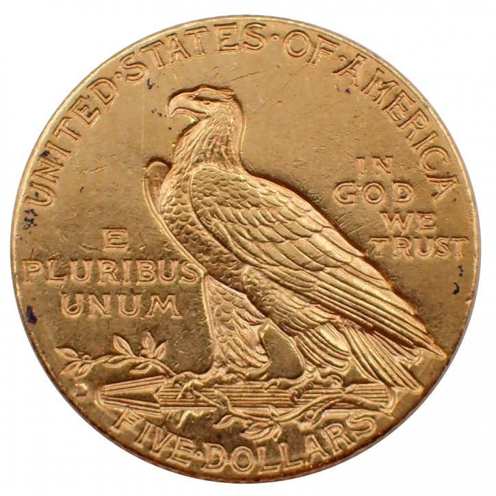 USA $ 5 Half Eagle Indian Head Gold 1909