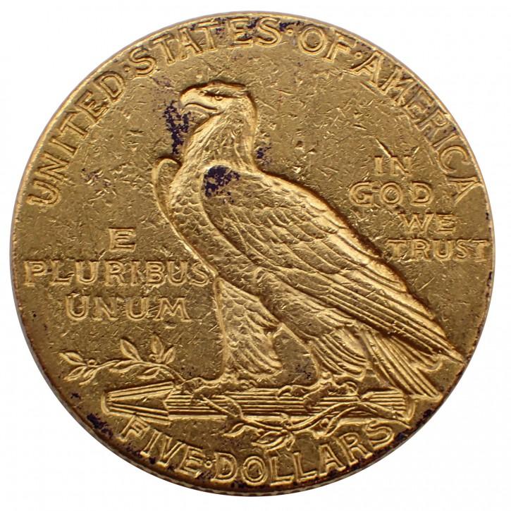 USA $ 5 Half Eagle Indian Head Gold 1912