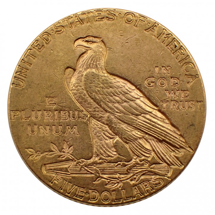 USA $ 5 Half Eagle Indian Head Gold 1912