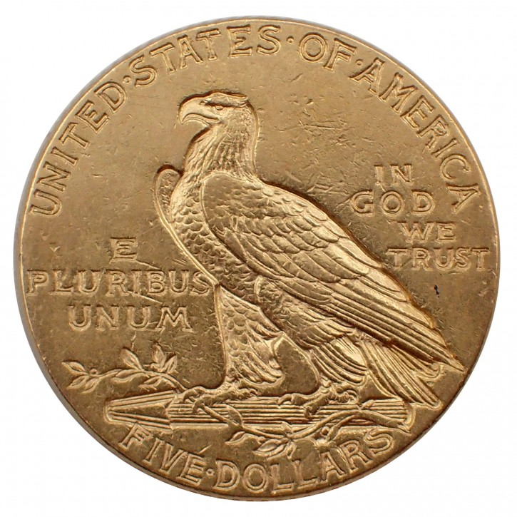 USA $ 5 Half Eagle Indian Head Gold 1913