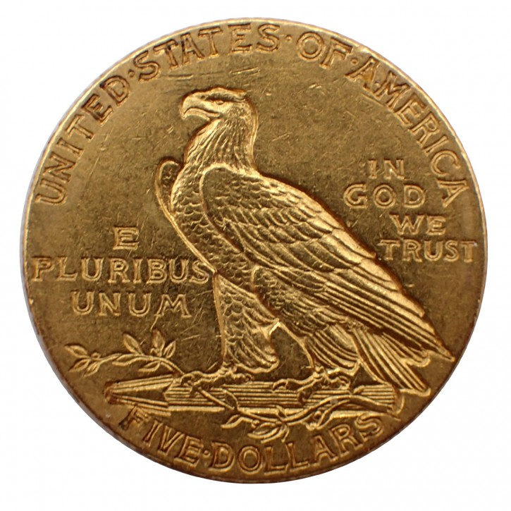 USA $ 5 Half Eagle Indian Head Gold 1914