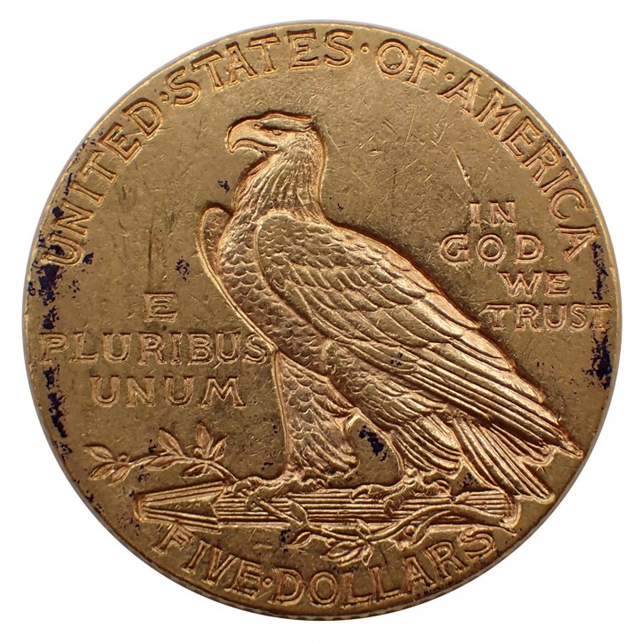 USA $ 5 Half Eagle Indian Head Gold 1915