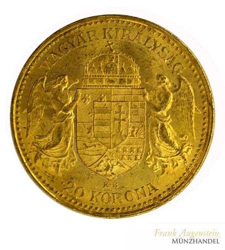 Ungarn 20 Kronen Korona Franz Josef I 1892 Gold