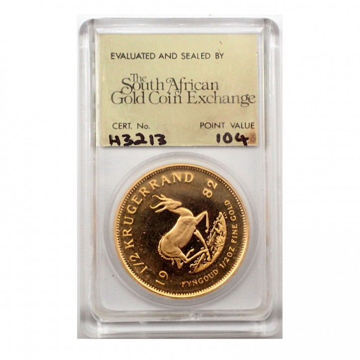 Südafrika Krügerrand 1/2 Gold 1982 Polierte Platte SAGCE zertifiziert