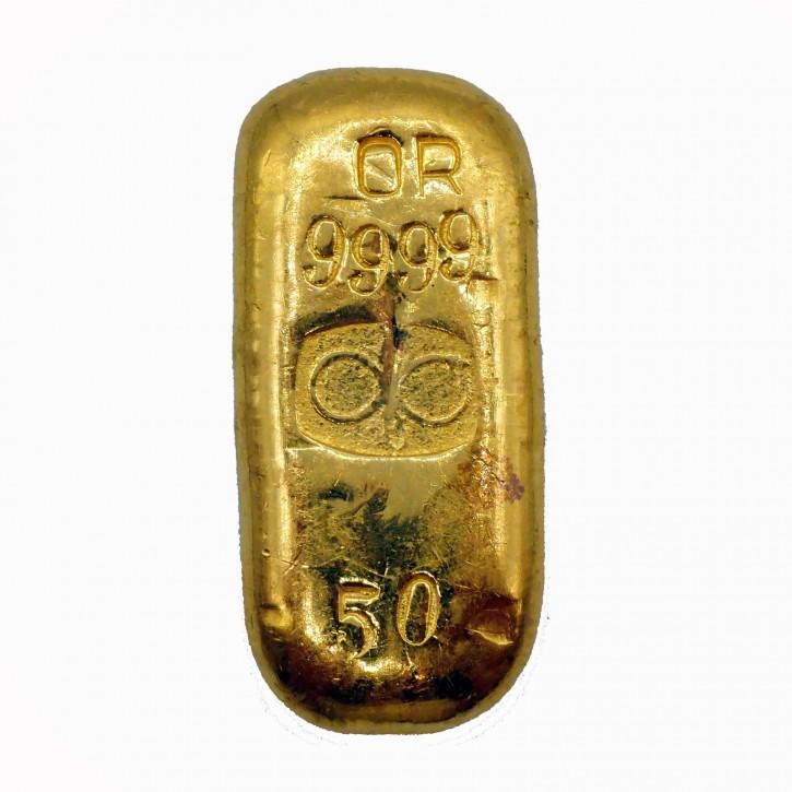 Goldbarren Buggenhout 50g .9999 Gold gegossen