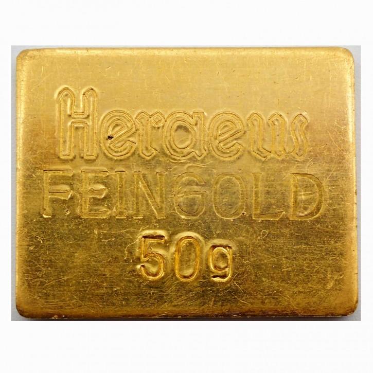 Historischer Heraus 50 g Goldbarren .9999 Gold