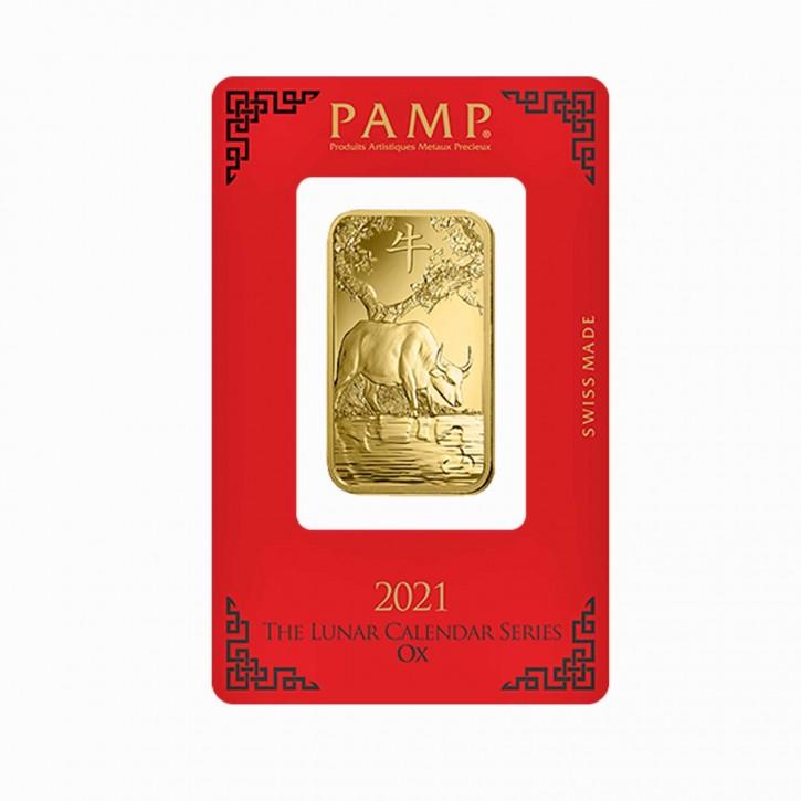 Goldbarren Pamp Suisse 1 oz .9999 Gold Motiv Lunar Ochse