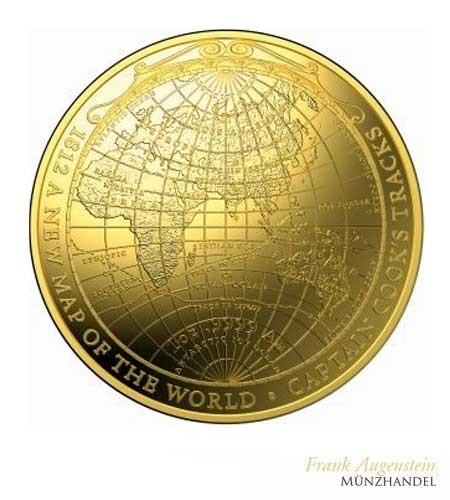 Australien $ 100 New Map of the World James Cook 1 oz Gold Domed coin 2018