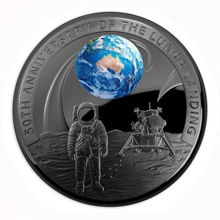 """Australien $ 5 """"50 Jahre Mondlandung"""" 1 oz Silber Black Nickel Domed coin 2019"""
