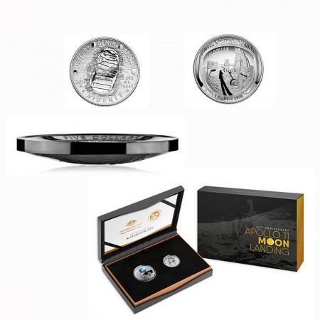 """Australien $ 5 """"50 Jahre Mondlandung"""" 1 oz Silber Black Nickel + US Half Dollar 2019"""