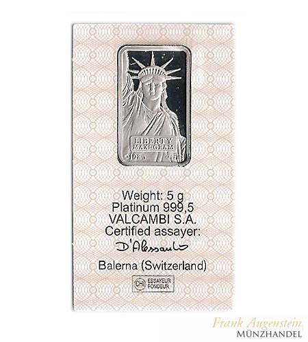 Credit Suisse Platinbarren Motiv Liberty 5 g .9995 Pt