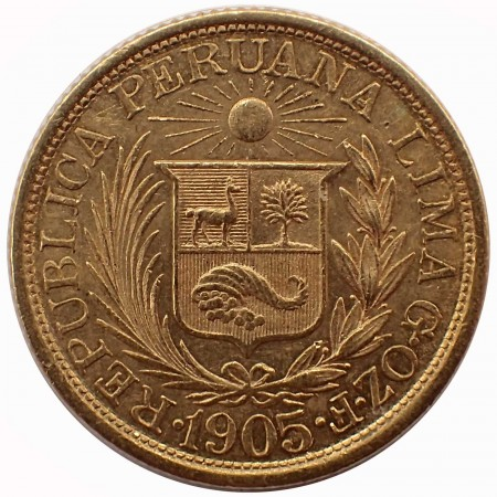 Peru 1 Pfund (1 Libra) Gold Inka Kopf 1905