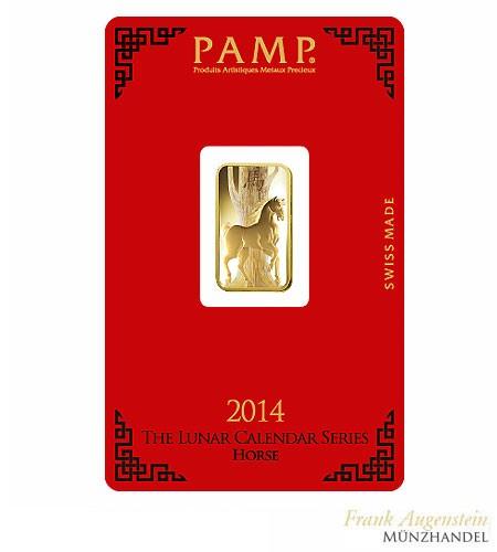 Goldbarren Pamp Suisse 5 g .9999 Gold Motiv Lunar Pferd