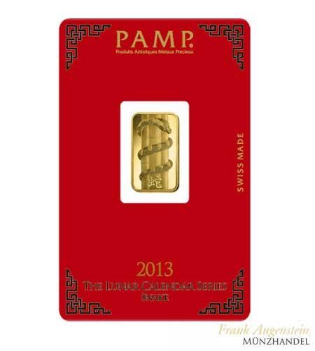 Goldbarren Pamp Suisse 5 g .9999 Gold Motiv Lunar Schlange