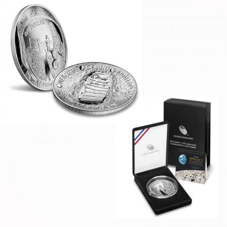 USA $ 1 Silber 5 oz PP Apollo 11 50. Jahrestag Mondlandung 2019