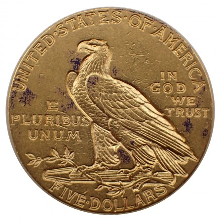 USA $ 5 Half Eagle Indian Head Gold 1913