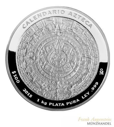 mexico 100 pesos aztekenkalender 1 kg silber pp 2016 mxaztec16. Black Bedroom Furniture Sets. Home Design Ideas