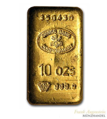 Goldbarren Swiss Bank Corporation 10 oz .9999 Gold gegossen