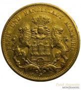 Hamburg 20 Mark Stadtwappen Gold 1893