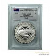 Australien $ 1 Silber Bindi / Salzwasserkrokodil PCGS MS-69
