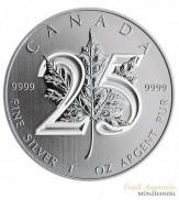"""Canada $ 5 Silber Maple Leaf 2013 """"25 Jahre Jubiläum"""""""
