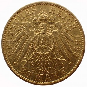 Hamburg 20 Mark Stadtwappen Gold 1893 J