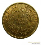 Frankreich 10 Francs Napoleon III Gold 1862 A