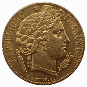 Frankreich 20 Francs Ceres Kopf Gold 1850