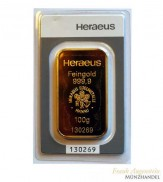 Goldbarren Heraeus 100 g .999 Gold