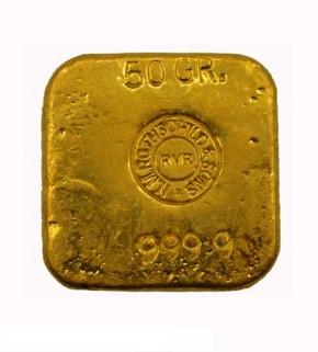 Goldbarren Rothschild 50 g .9999 Gold gegossen