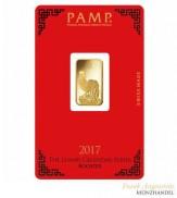 Goldbarren Pamp Suisse 5 g .9999 Gold Motiv Lunar Hahn