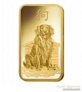Goldbarren Pamp Suisse 1oz .9999 Gold Motiv Lunar Hund