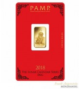 Goldbarren Pamp Suisse 5 g .9999 Gold Motiv Lunar Hund