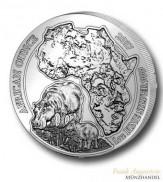 Ruanda 50 Francs 1 oz Silber African Ounce Flußpferd/Hippo 2017 BU