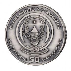 Ruanda 50 Francs 1 oz Silber Nautical Ounce Mayflower 2020 High Relief/Antik Finish