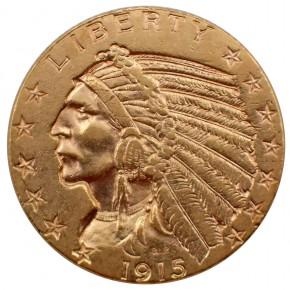 USA $ 5 Half Eagle Indian Head Gold 1915
