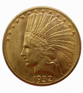 USA $ 10 Indian Head Gold 1932