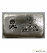 Silberbarren Skull & Bones 5 oz .999 Silber gegossen